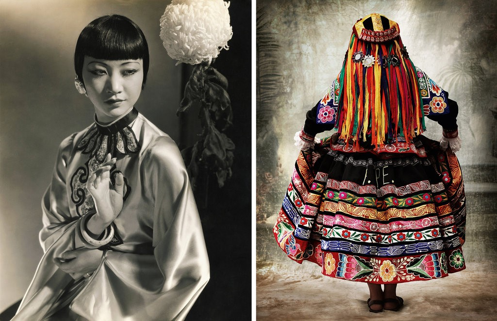 """Actress Anna May Wong,"" 1930, by Edward Steichen; and ""Traditional Women's Dress, Province of Espinar Cusco, Peru,"" 2007, by Mario Testino."