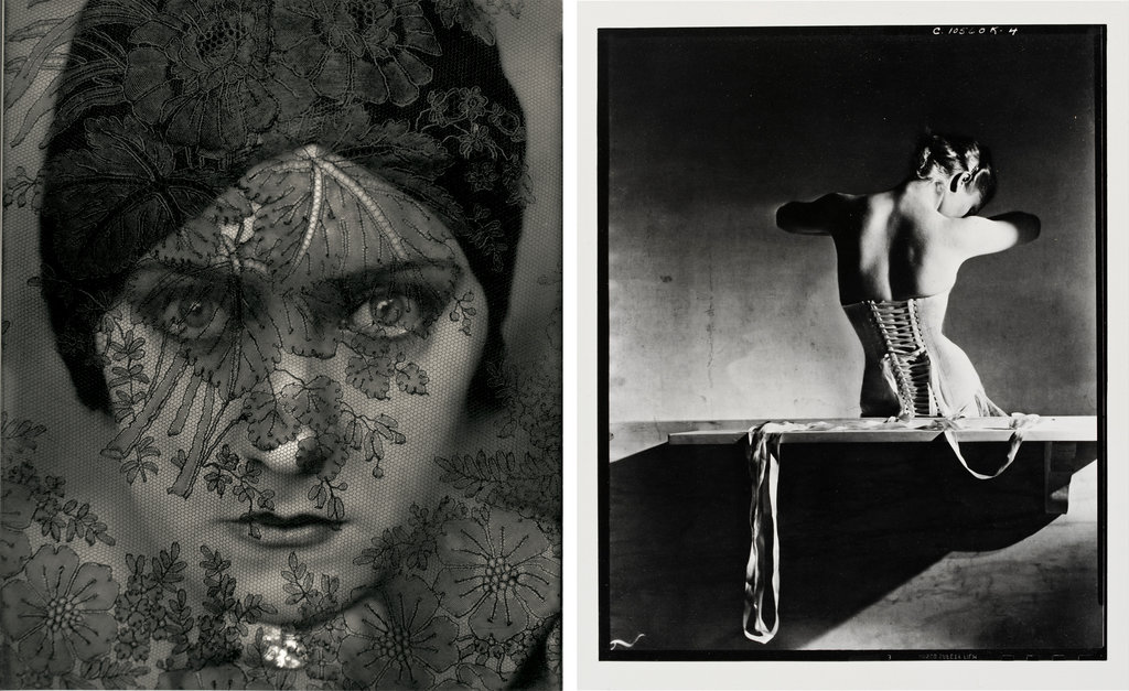 "From left, ""Actress Gloria Swanson,"" 1924, by Edward Steichen; ""Mainbocher Corset,"" 1939, by Horst P. Horst."
